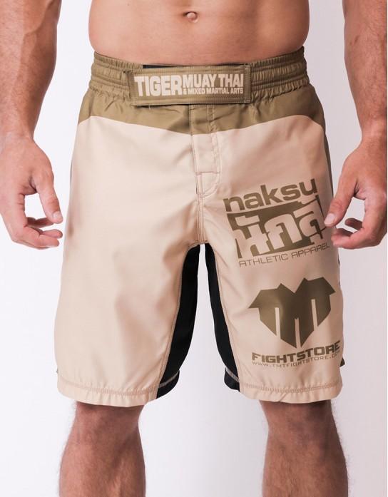 "MMA Shorts - ""NAKSU & TMTFS"" - Light Earth"