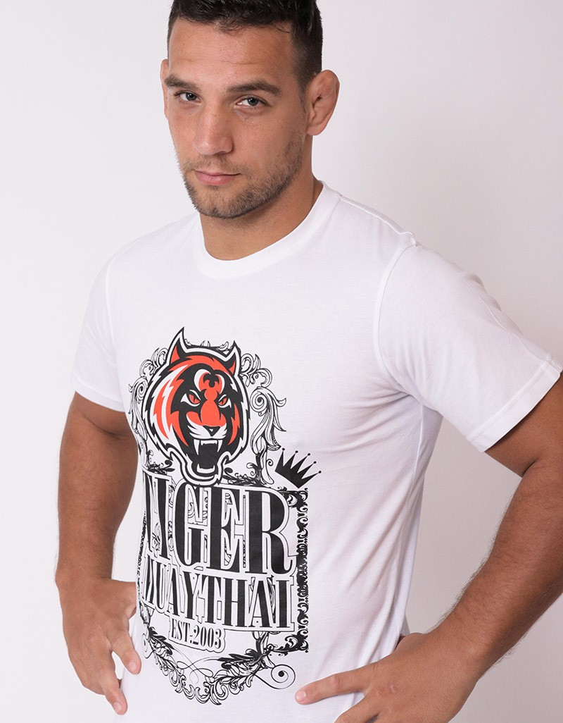 T shirt tiger ornament cotton white tmt fightstore for Thick white cotton t shirt