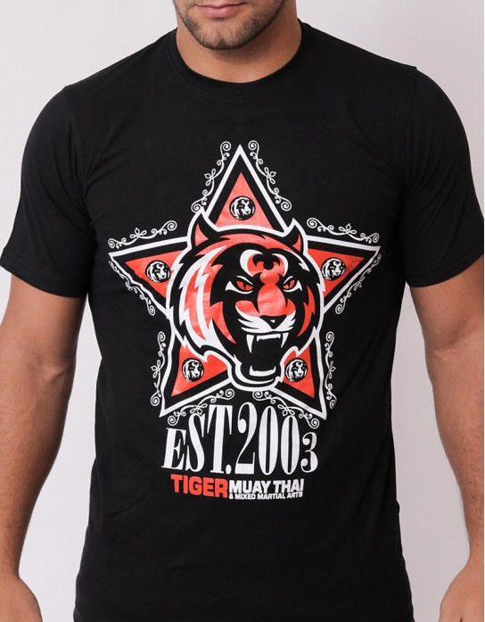 "T-Shirt - ""Tiger Star"" - Cotton - Black"