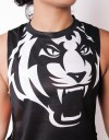 "Female Low-cut Tank-Top - ""Signature Tiger Head"" - Airflow - Black & White"