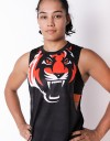 "Female Low-cut Tank-Top - ""Signature Tiger Head"" - Airflow - Black & Orange"