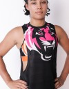 "Female Low-cut Tank-Top - ""Signature Tiger Head"" - Airflow - Black & Pink"