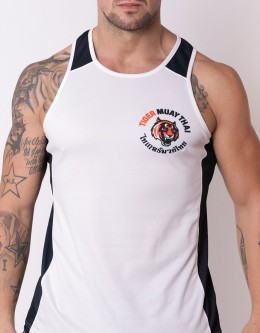 "Tank-Top - ""Arrow"" - Soft-Tech - White & Navy Blue"