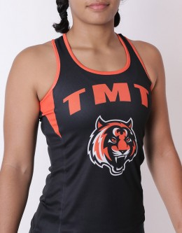 "Female Tank-Top - ""Bronco"" - Soft-Tech - Black & Orange"