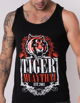 "Tank Top - ""Tiger Ornament"" - Cotton - Black"