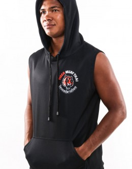 "Sleeveless Hoodie - ""Basic Black"" - Soft Tech - Black"