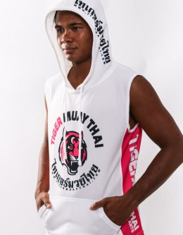 "Sleeveless Hoodie - ""Signature"" - Soft Tech - White & Pink"