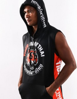 "Sleeveless Hoodie - ""Signature"" - Soft Tech - Black & Orange"