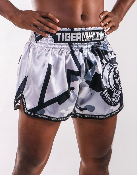 "Muay Thai Shorts - ""TMT & TMTFS Camo"" - Grey"