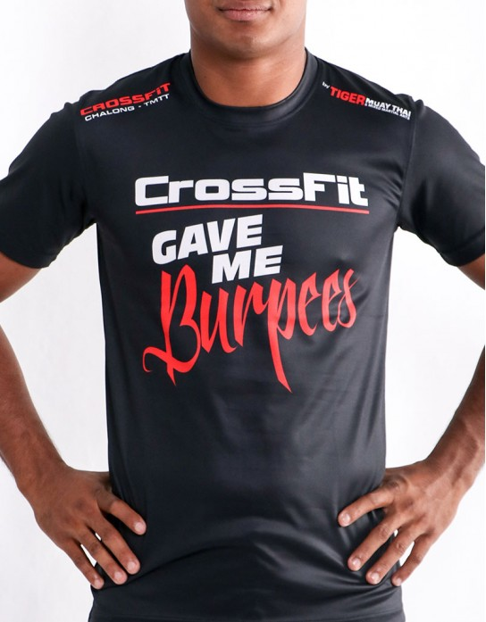 "T-Shirt - ""Crossfit Gave Me Burpees"" - Soft Tech - Black"