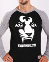"T-Shirt - ""Tiger Face"" - Long Sleve - Cotton - Black"