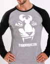 "T-Shirt - ""Tiger Face"" - Long Sleeve - Cotton - Grey"