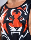 "Low-cut Tank-Top - ""Tiger Head"" - 1stDry - Black & Orange"