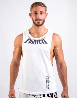 "Low-cut Tank-Top - ""Fighter"" - 1stDry - White"