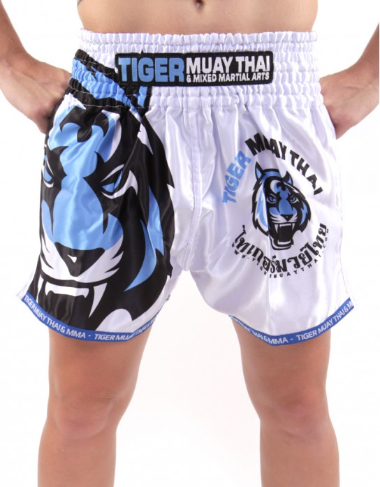 "Muay Thai Shorts - ""Signature"" - White & Orange"