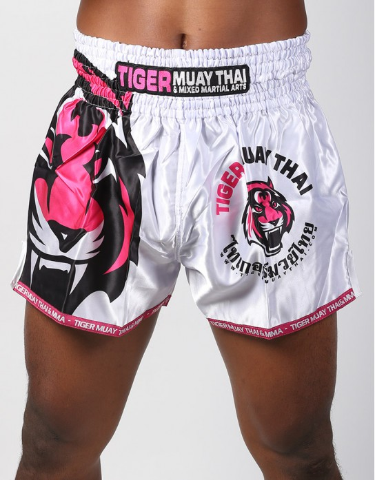 "Muay Thai Shorts - ""Signature"" - White & Pink"