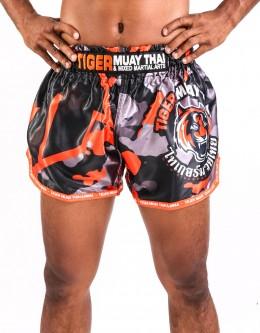 """Muay Thai Shorts - """"TMT & TMTFS Camo"""" - Orange"""