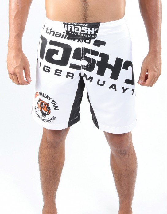 "MMA Shorts - ""Thai Writing XL"" - White & Black"