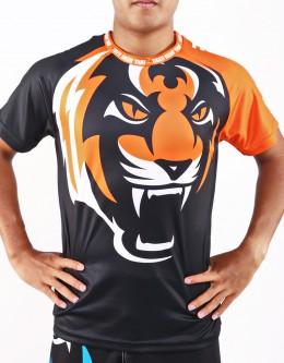 "T-Shirt -  ""Tiger Head"" - 1stDry - Black & Orange"