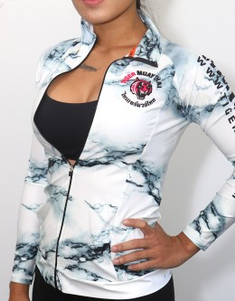 """Fitness Jacket - """"Marble"""" - White & Pink"""