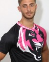 "T-Shirt - ""Signature Tiger Head"" - Air Flow - Black & Pink"