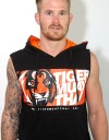 "Sleeveless Hoodie - ""Tiger Head"" - Cotton - Black"