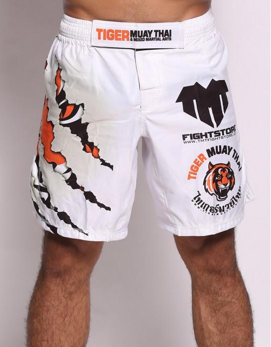 """MMA Shorts - """"Clawmark"""" - White"""