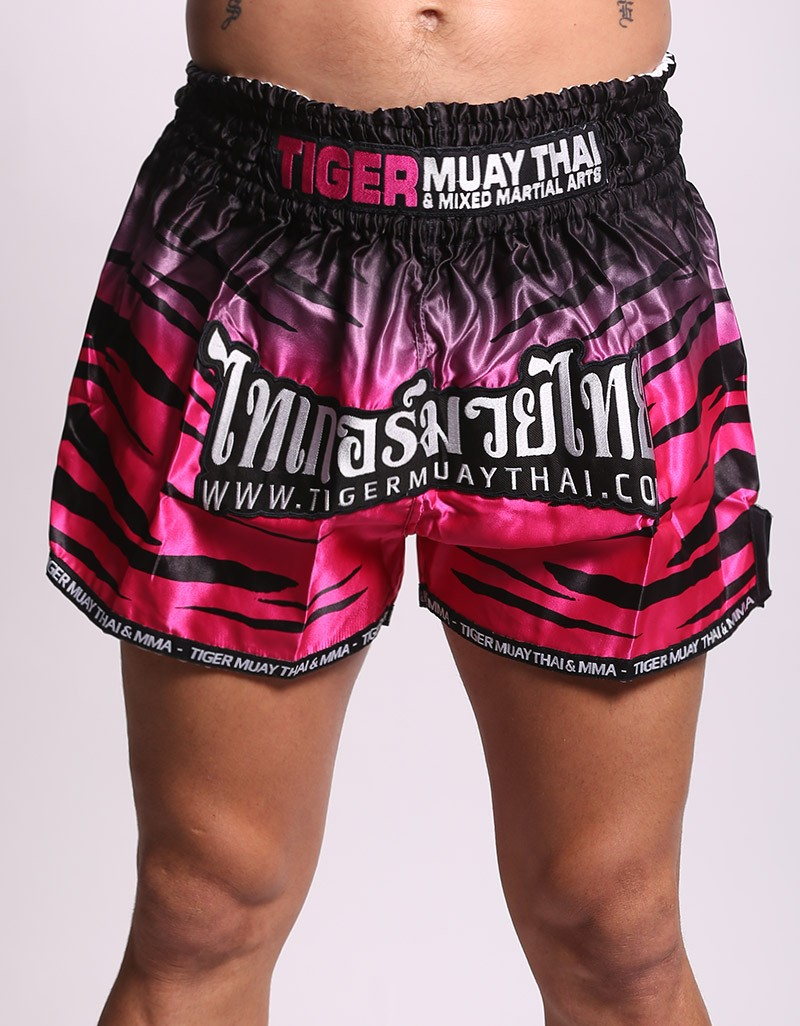 "Muay Thai Shorts - ""Tiger Stripes"" - Pink - TMT Fightstore"