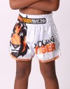 "Kids Muay Thai Shorts - ""Young Tiger"" - White & Orange"