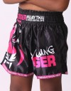 "Kids Muay Thai Shorts - ""Young Tiger"" - Black & Pink"