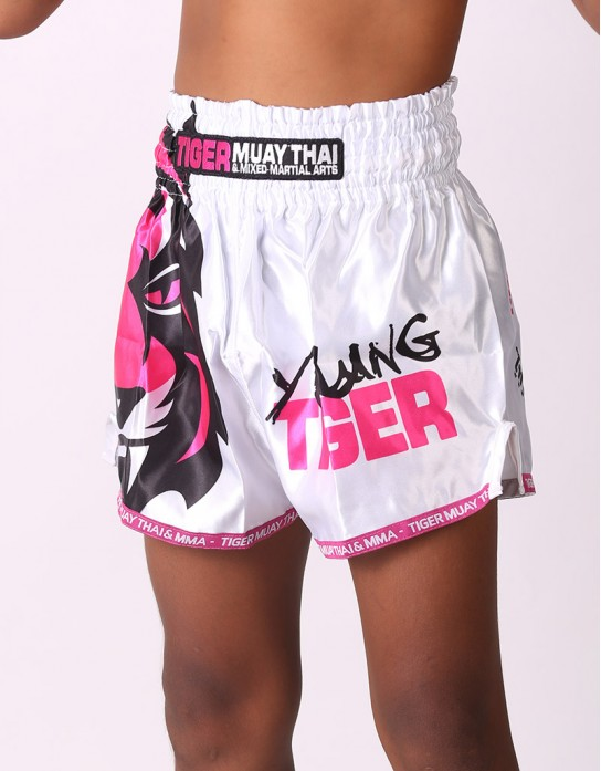 "Kids Muay Thai Shorts - ""Young Tiger"" - White & Pink"