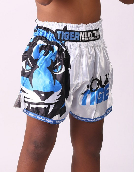 "Kids Muay Thai Shorts - ""Young Tiger"" - White & Blue"