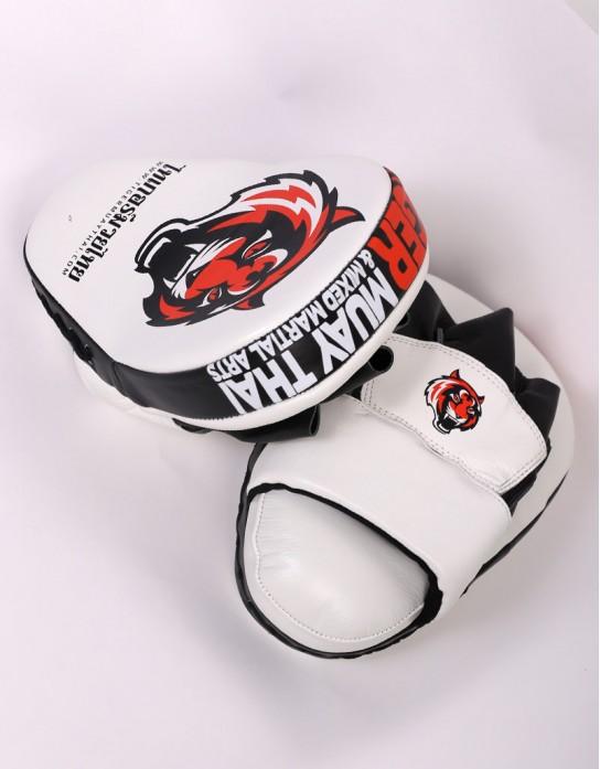 Tiger Muay Thai Focus Mitts - White & Orange