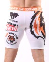"Compression Shorts - ""Sponsored Fighter Shorts"" - White & Orange"