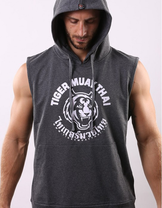"Sleeveless Hoodie - ""Big TMT Logo"" - French Terry - Dark Top Dyed"