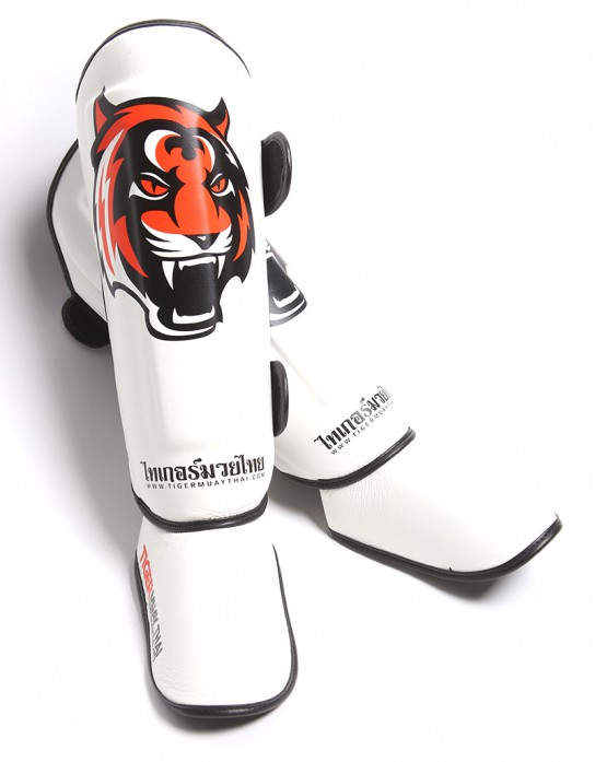 "Shin Pads - ""Signature"" - White & Orange"