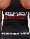 "Female Tank-Top - ""Strength is Beautiful"" - Soft-Tech - Black & Orange"