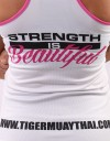 "Female Tank-Top - ""Strength is Beautiful"" - Soft-Tech - White & Pink"