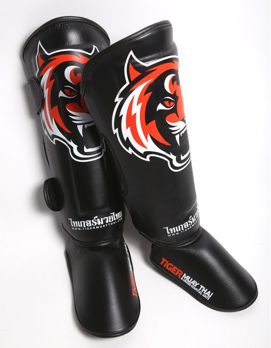 "Shin Pads - ""Signature"" - Black & Orange"