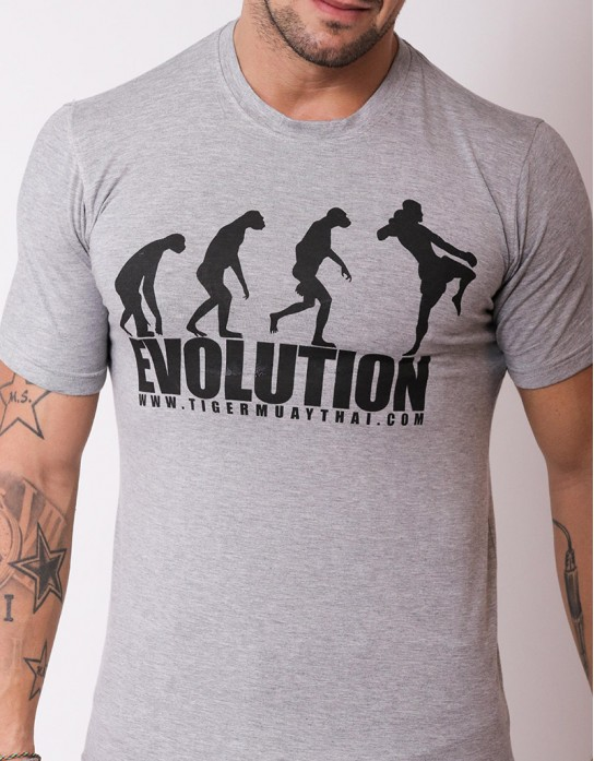"T-Shirt - ""Evolution"" - Rayon Spandex - Grey"